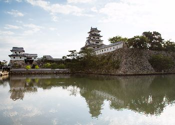 Imabari castle surrounded by water
